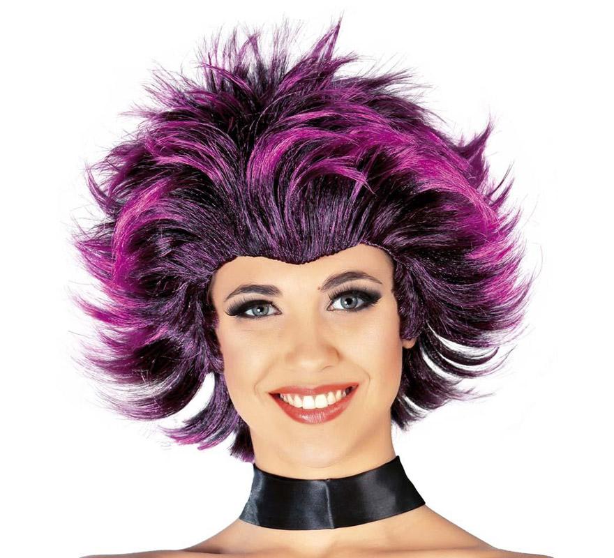 Peluca Chica de la Disco con mechas lilas. Envase en caja. Perfecta para los disfraces de Gótica para Halloween.