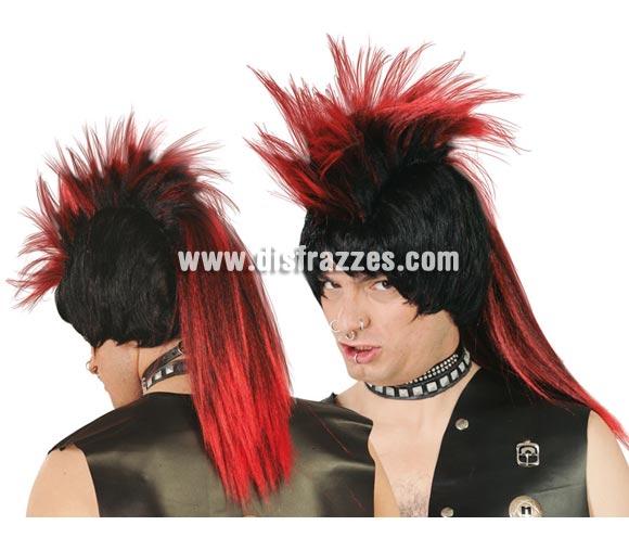 Peluca de Punky negra con cresta roja.