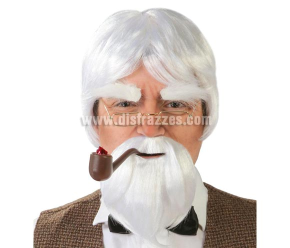 Peluca y perilla blanca. Perfecta para disfrazarse de viejo Maestro Chino de Kung-Fu. Envase en caja.