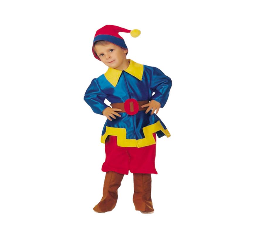 Disfraz de Enanito para niño. Hecho en España. Disponible en varias tallas. Incluye camisa, pantalón, cinturón, cubrebotas y gorro.