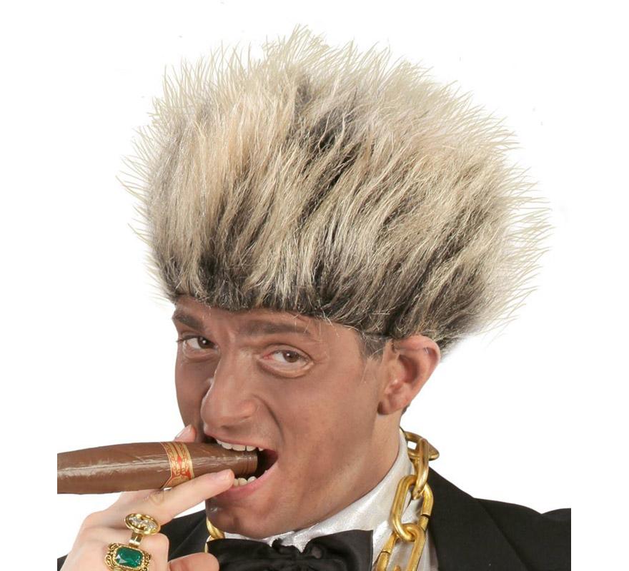 Peluca pelos de punta del Sr. Dolar con mechas. Envase en caja. También puede valer para los disfraces de Punky, Rockero y Hombre de la Disco.