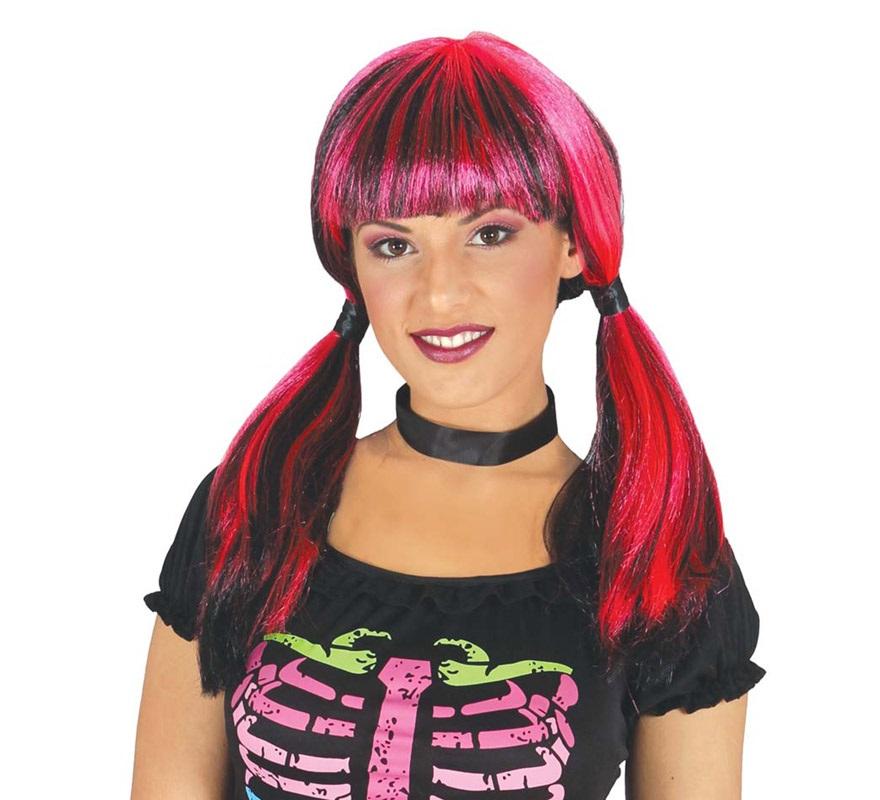 Peluca Roja y Negra con coletas para Halloween. Perfecta para nuestros disfraces de Bruja, esqueleto o aprendiz de magia.