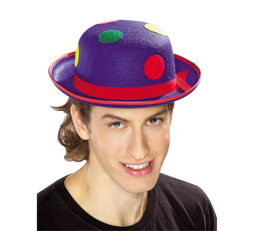 Sombrero bombin payaso azul.