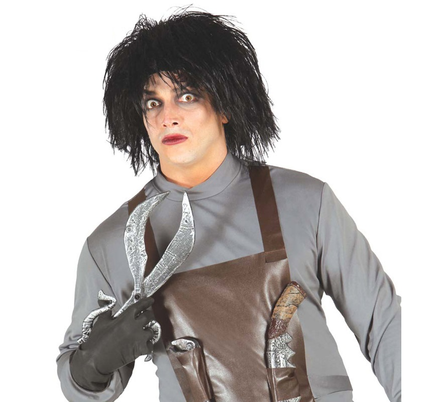 Peluca Negra de Hombre de las Tijeras para Halloween. Perfecta para imitar al personaje de Eduardo Manostijeras.