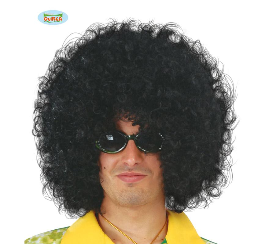 Peluca de Hippie negra Afro extra. Envase en caja.
