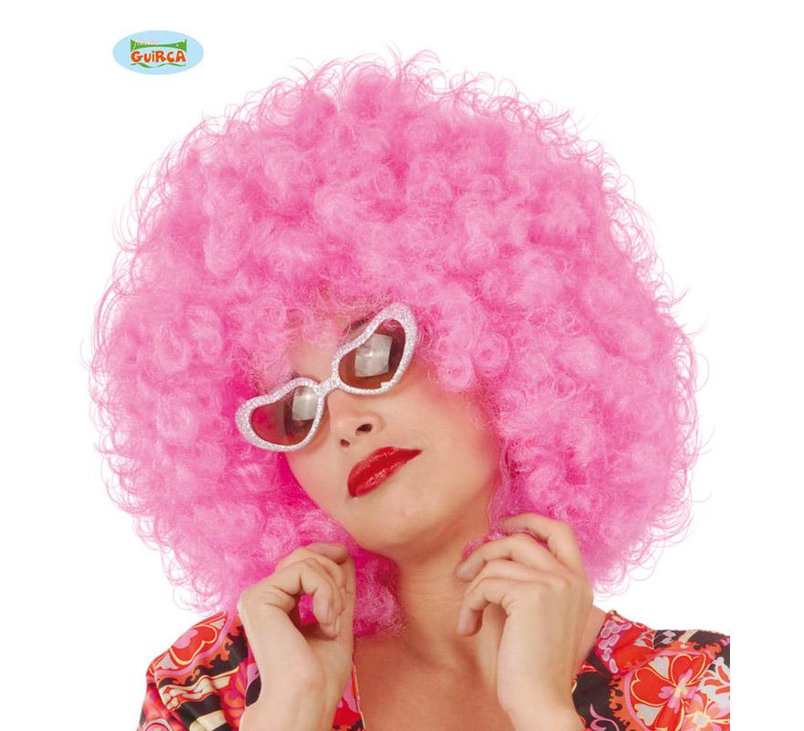 Peluca de Hippie rosa Afro extra. Envase en caja. También sirve para el disfraz de Payaso.