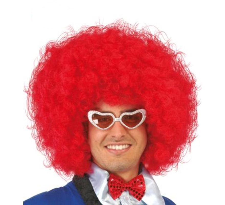 Peluca de Hippie roja Afro extra. Envase en caja. También sirve como peluca de Payaso.