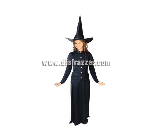 Disfraz barato de Bruja Pirula para niñas de 8 a 10 años. Incluye vestido y sombrero.