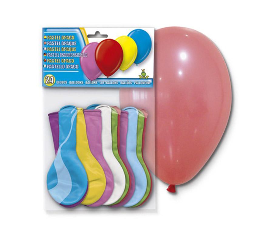 Bolsa de 24 globos pastel de color AZUL. En la imagen aparecen de varios colores, pero son Azules.