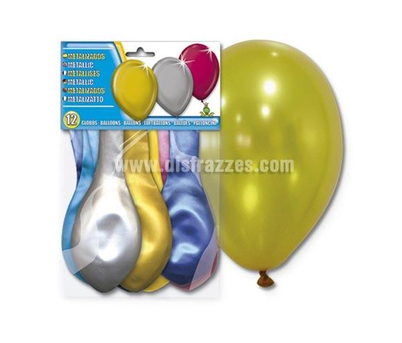 Bolsa de 12 globos metalizados de colores.
