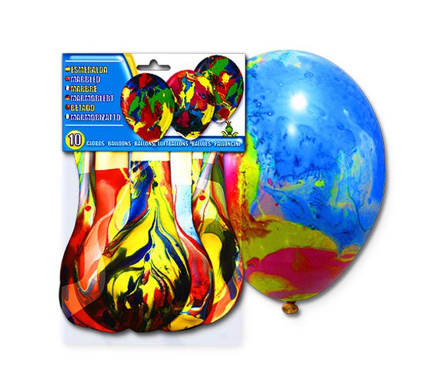 Bolsa de 10 globos esmeralda coloridos.