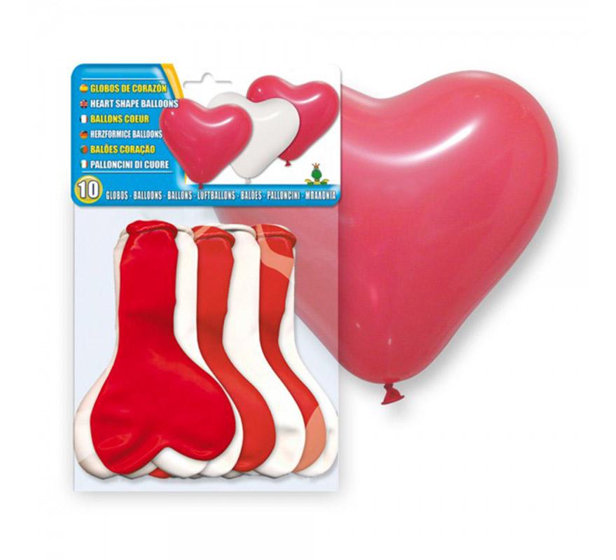 Bolsa de 10 globos rojos y blancos en forma de Corazón. Ideal para el disfraz de Cupido y para decorar en San Valentín.