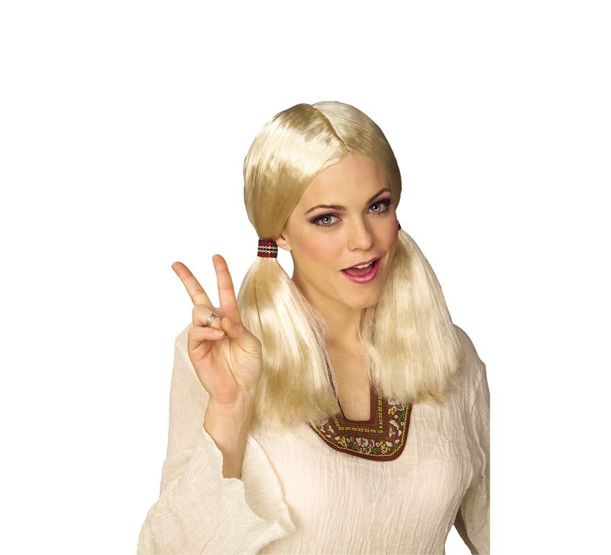 Peluca chica hippie rubia con coletas.