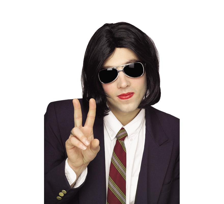 Peluca Wacko Jacko con gafas. Peluca de Michael Jackson, gafas incluidas.