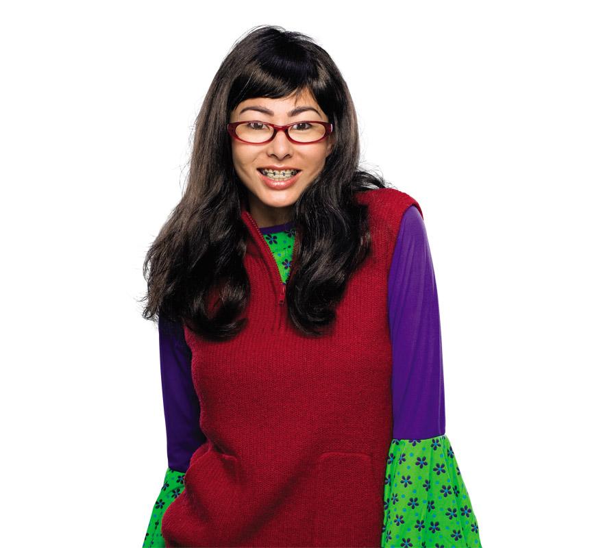 Peluca Betty la Fea para adultos. Incluye las gafas y dientes con brackets.