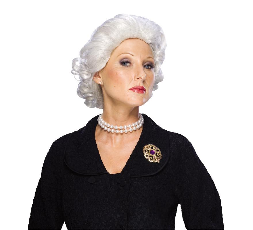 Peluca de Elisabeth Queen adulta. Peluca de la Reina Isabel de Inglaterra o también podrá servir como peluca de abuela o de vieja.