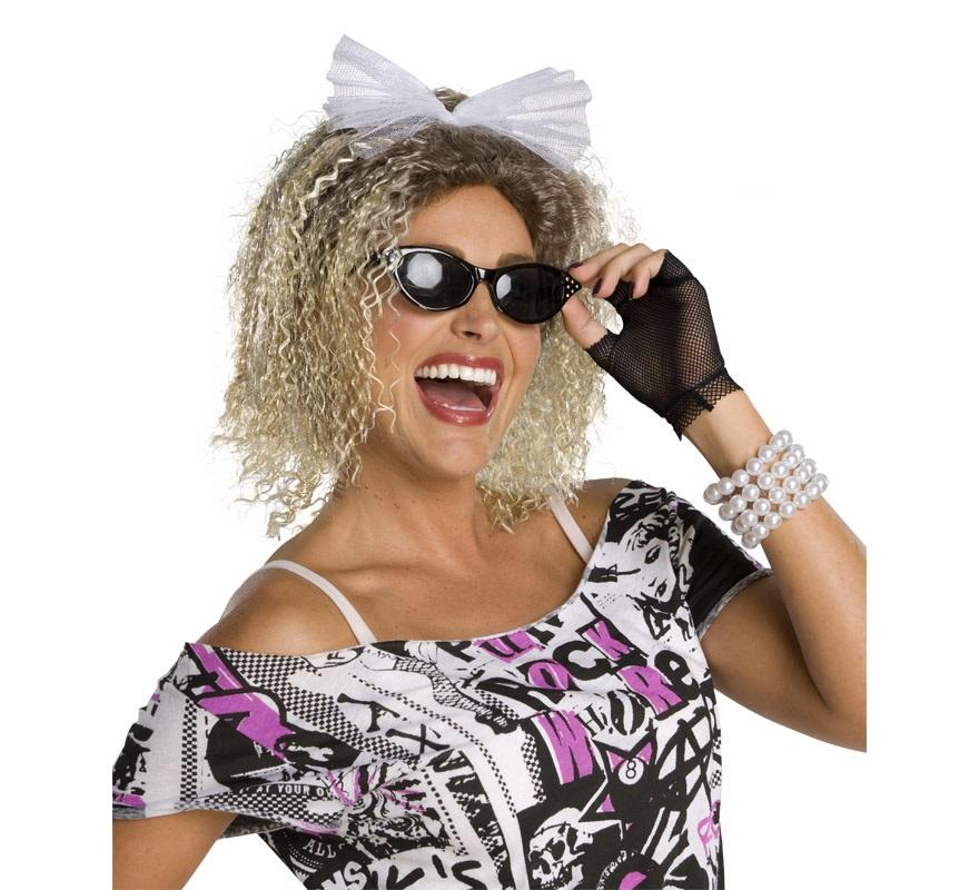 Peluca Reina del Pop rubia rizada con lazo. También sirve para disfrazarse de Novia y de Madonna.