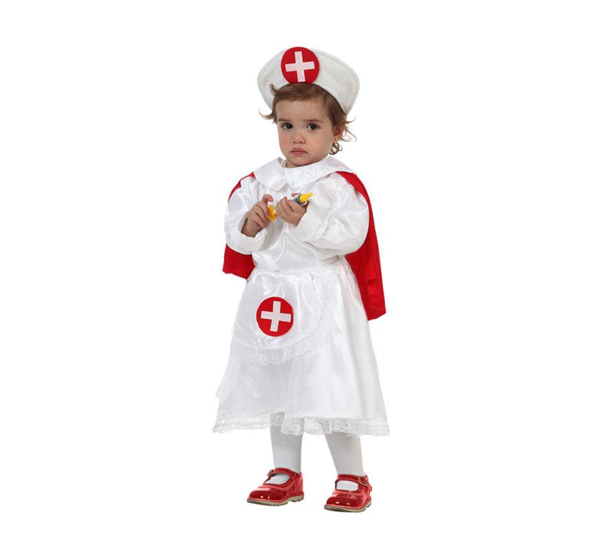 Disfraz de Enfermera para niñas de 12 a 24 meses. Precioso disfraz que tanto gusta a las niñas. Incluye disfraz completo. Termometro NO incluido, podras encontrarlo en nuestra sección de complementos.