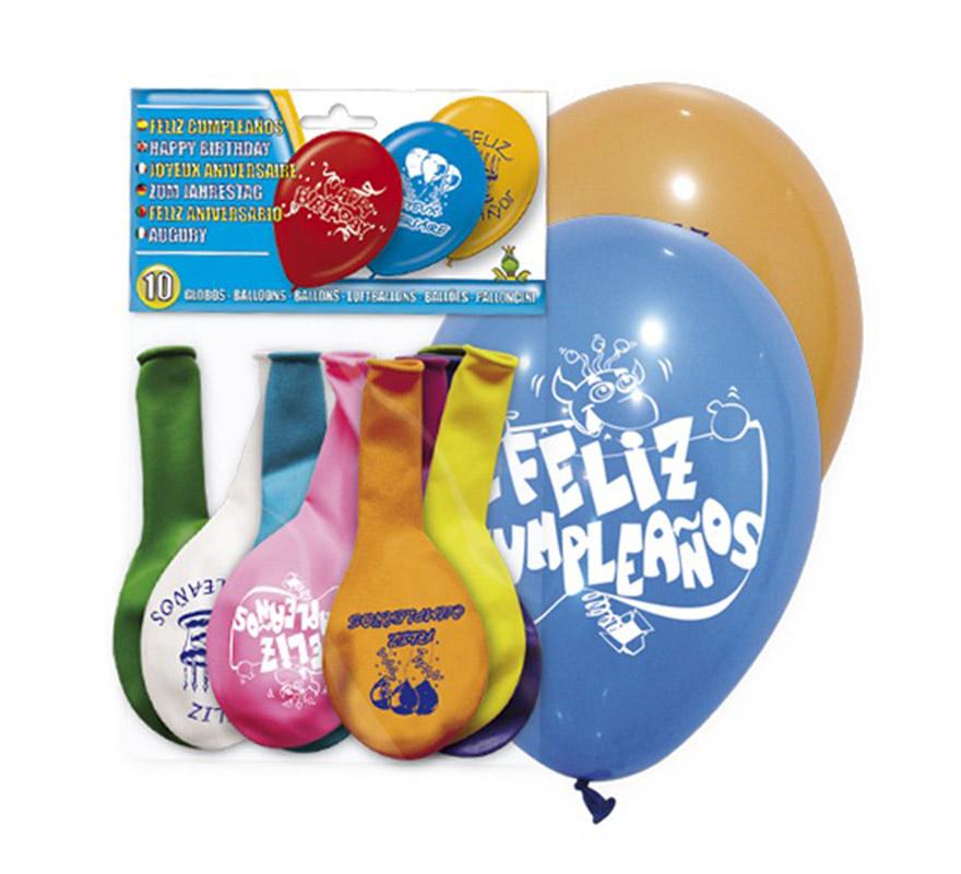 Bolsa de 10 globos con impresion de FELIZ CUMPLEAÑOS. Ideal para decorar.