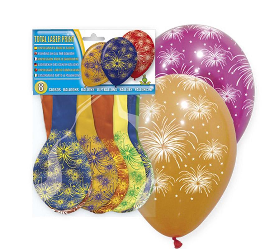 Bolsa de 8 globos de colores con Fuegos Artifiales impresos.
