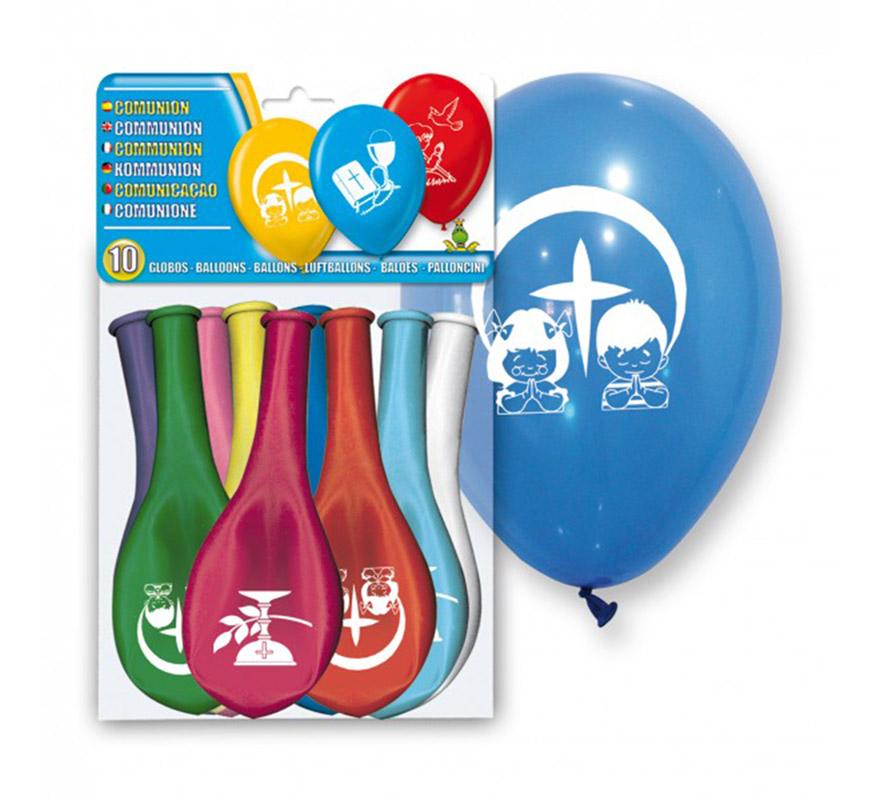 Bolsa de 10 globos de la Primera Comunión de colores. Ideal para decorar.