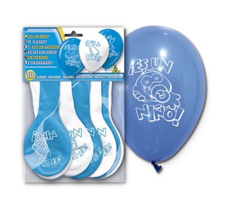 Bolsa de 10 globos azules y blancos para Bautizo ES UN NIÑO. Ideal para decorar.