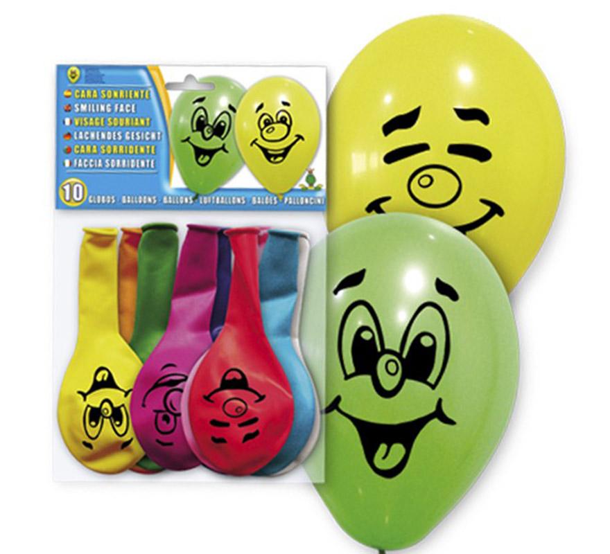 Bolsa de 10 globos Cara Sonriente impresa amarillos. En la imagen aparecen de varios colores, pero son Amarillos.