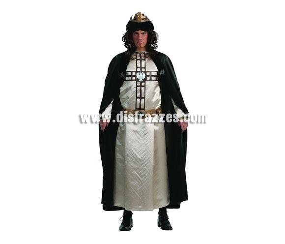 Disfraz de Rey de las Cruzadas adulto talla única 52/54. Incluye túnica, capa, corona y cinturón.