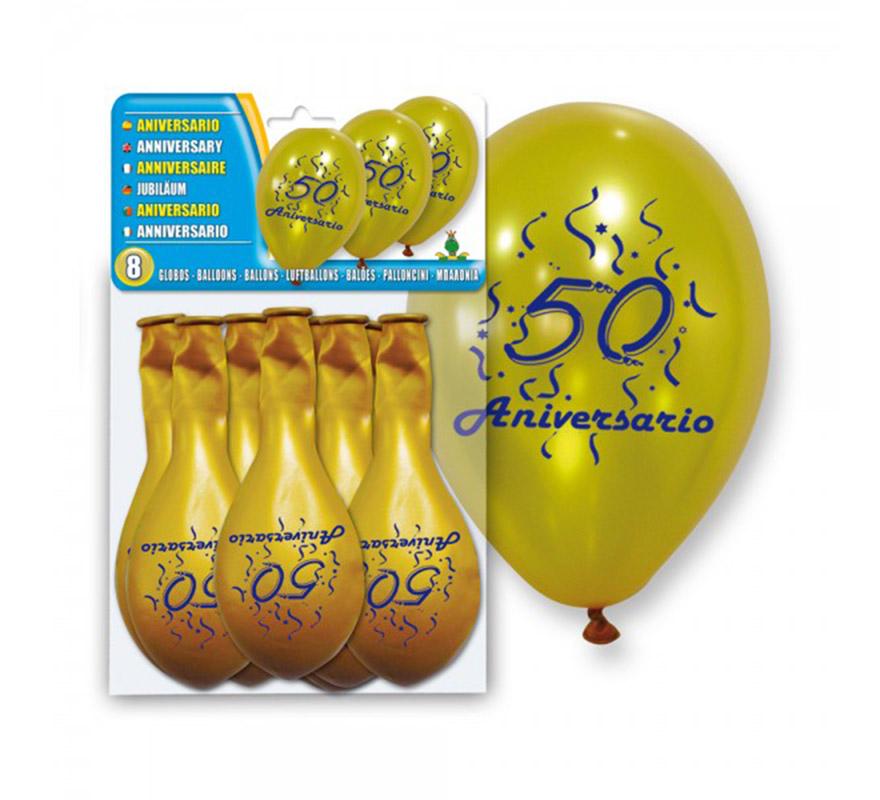 Bolsa de 8 globos dorados 50 ANIVERSARIO. Ideal para decorar en unas Bodas de Oro y para celebrar un 50 cumpleaños.