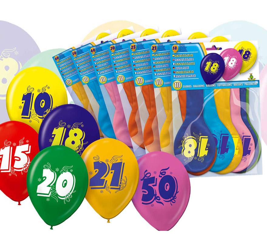 Bolsa de 10 globos de colores con el número 0 impreso.