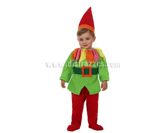 Disfraz de Enanito para bebés de 12 a 24 meses. Incluye gorro, camisa, cinturón y pantalones.