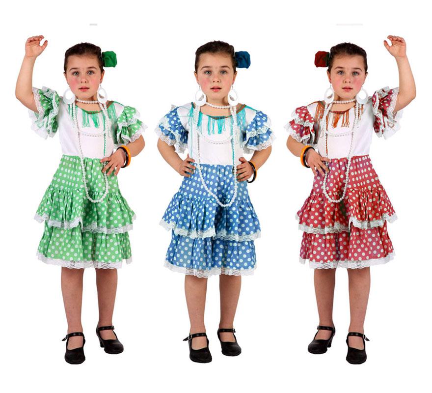 Disfraz muy barato de Sevillana niña talla de 3 a 4 años. Colores surtidos. Incluye vestido. Precio por unidad, se venden por separado. ¡¡Compra tu disfraz para Carnaval en nuestra tienda de disfraces, será divertido!!