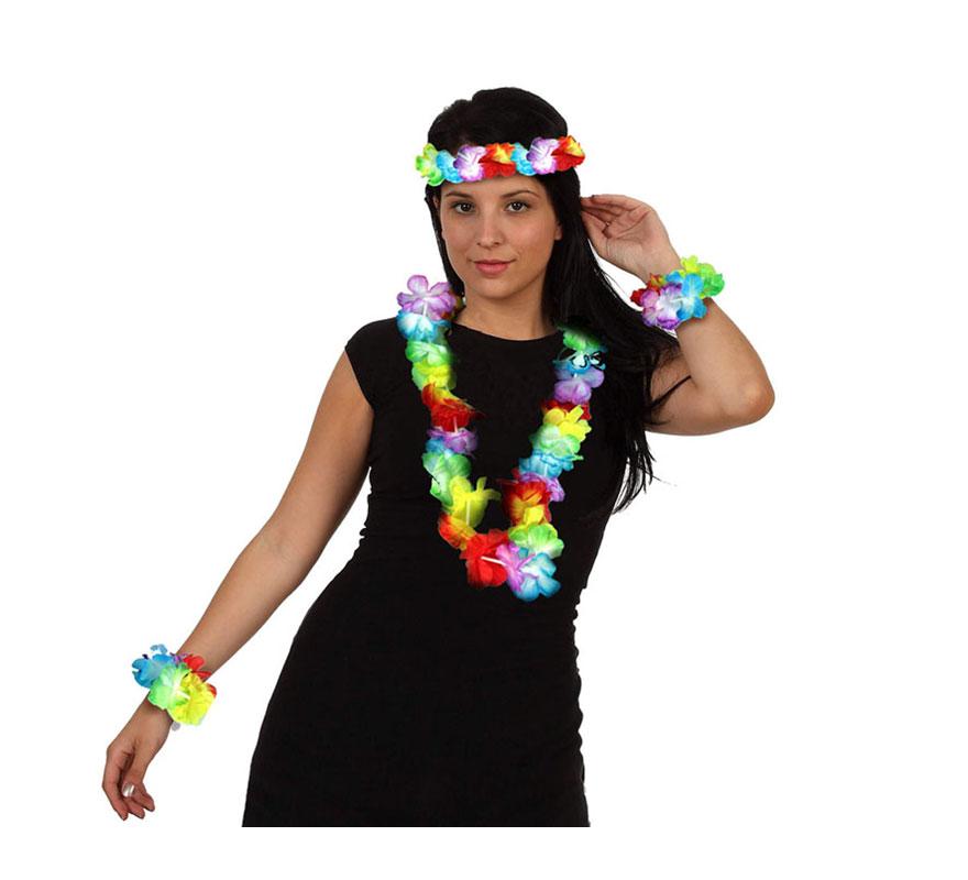 Complemento Hawaiano multicolor de tela. Incluye collar, muñequeras y corona para la cabeza.