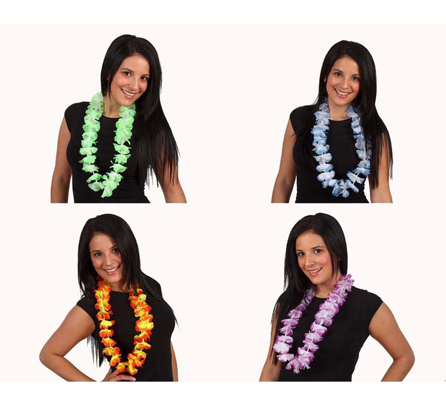 Collar Hawaiano flores de tela bicolor. Cuatro colores surtidos. Precio por unidad, se venden por separado.