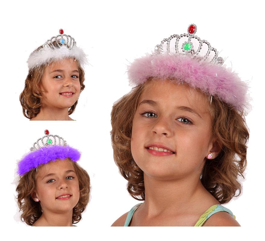 Diadema o Corona de Princesa con marabú y 2 piedras. Tres colores surtidos, precio por unidad, se venden por separado.