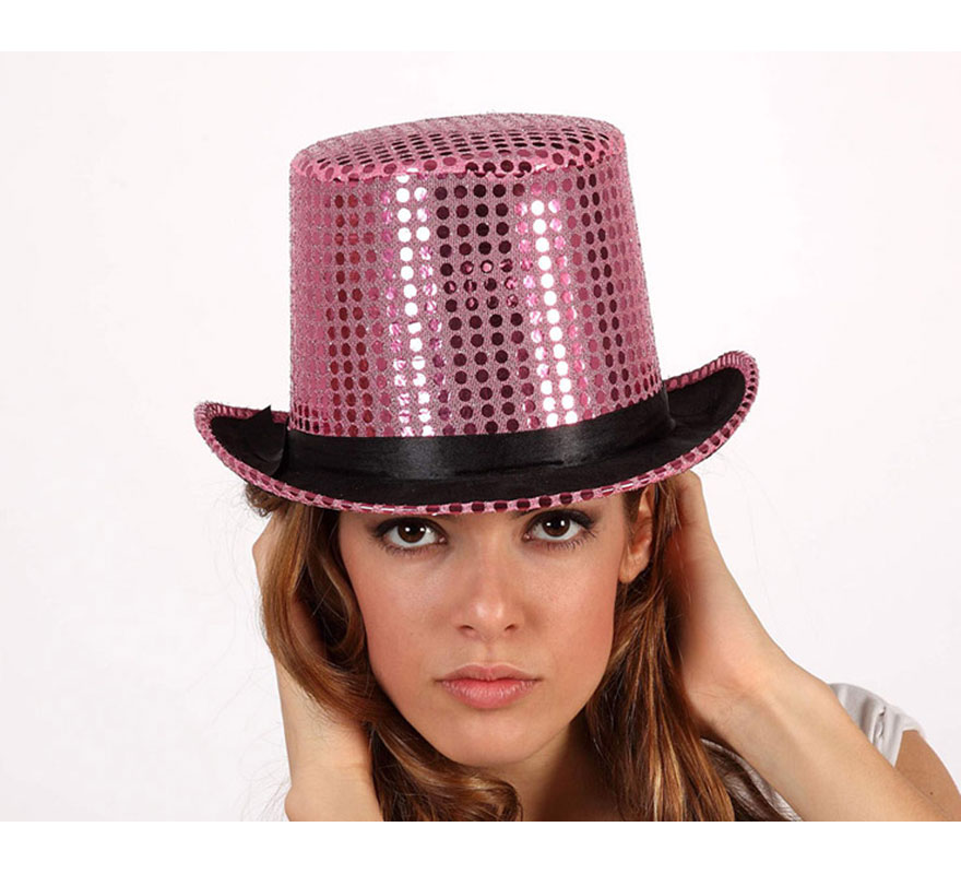 Sombrero de copa o Chistera rosa brillante. Talla universal de adultos.