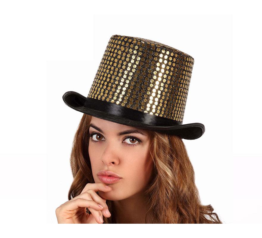 Sombrero de copa o Chistera dorada brillante. Talla universal de adultos.