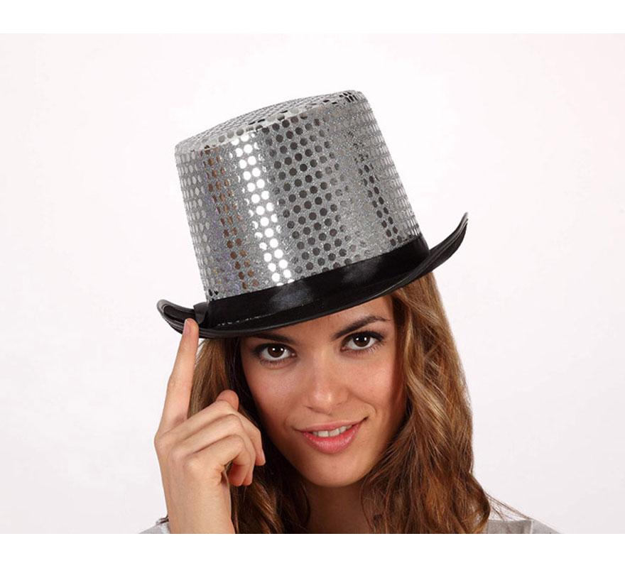 Sombrero de copa o Chistera plateada brillante. Talla universal de adultos.