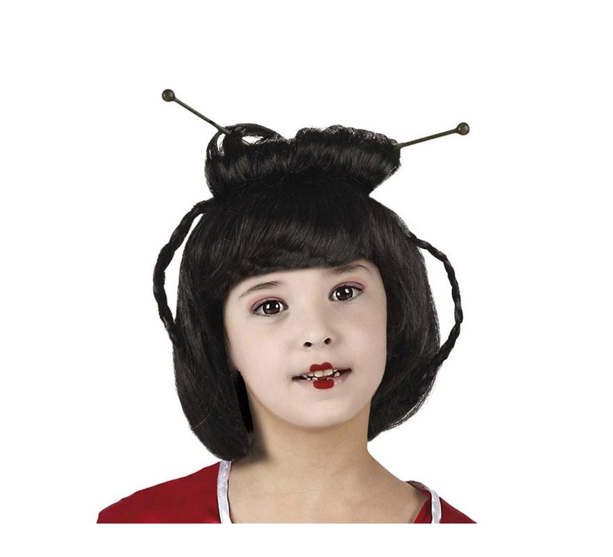 Peluca de Geisha o China para niña.