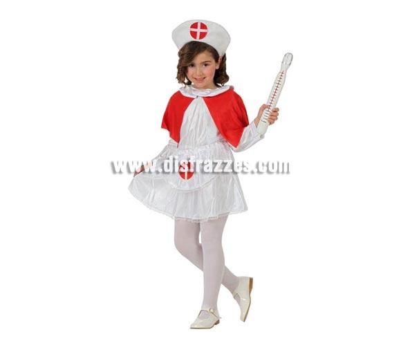 Disfraz de Enfermera para niñas de 7 a 9 años. Precioso disfraz que tanto gusta a las niñas. Incluye vestido y cofia. Termometro y medias NO incluidas.