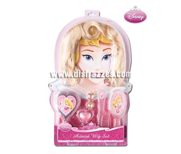Set Accesorios de la Bella Durmiente para niñas. Incluye peluca, brillo de labios, cepillo, peine, espejo, anillo y collar. Artículo con licencia Disney perfecto como regalo.