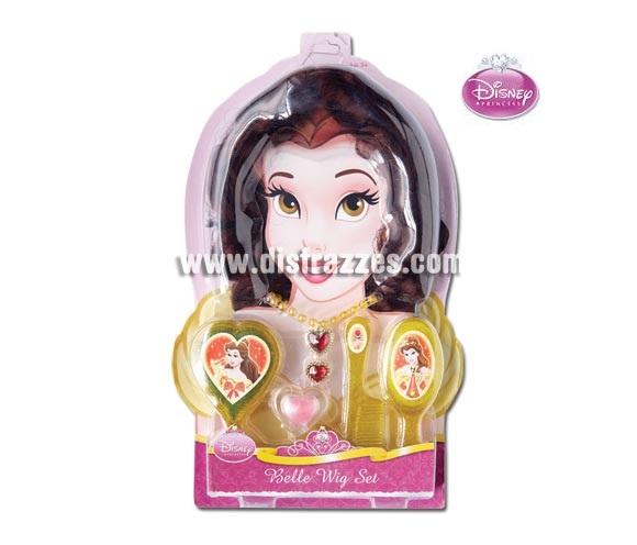 Set Accesorios de la Bella y la Bestia para niñas. Incluye peluca, brillo de labios, cepillo, peine, espejo, anillo y collar. Artículo con licencia Disney perfecto como regalo.