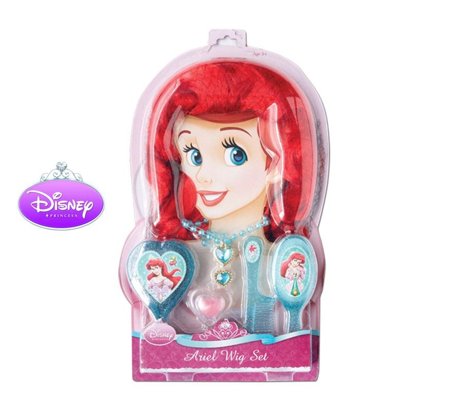 Set Accesorios de Ariel para niñas. Incluye peluca, brillo de labios, cepillo, peine, espejo, anillo y collar. Artículo con licencia Disney perfecto como regalo.