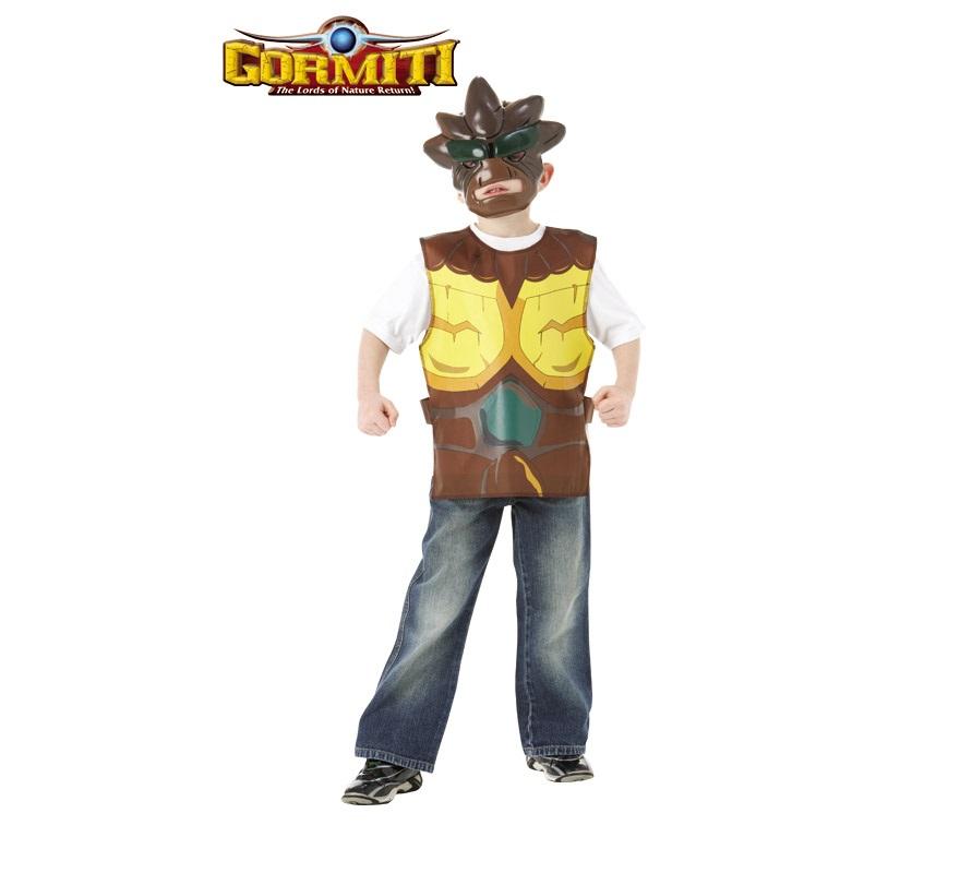 Blister Set Gormiti Tierra infantil para Carnaval o para regalar en Navidades. Talla de 5 a 7 años. Incluye tabardo y máscara. Éste disfraz es ideal para regalar en Navidad, en Reyes Magos, para un Cumpleaños o en cualquier ocasión del año.