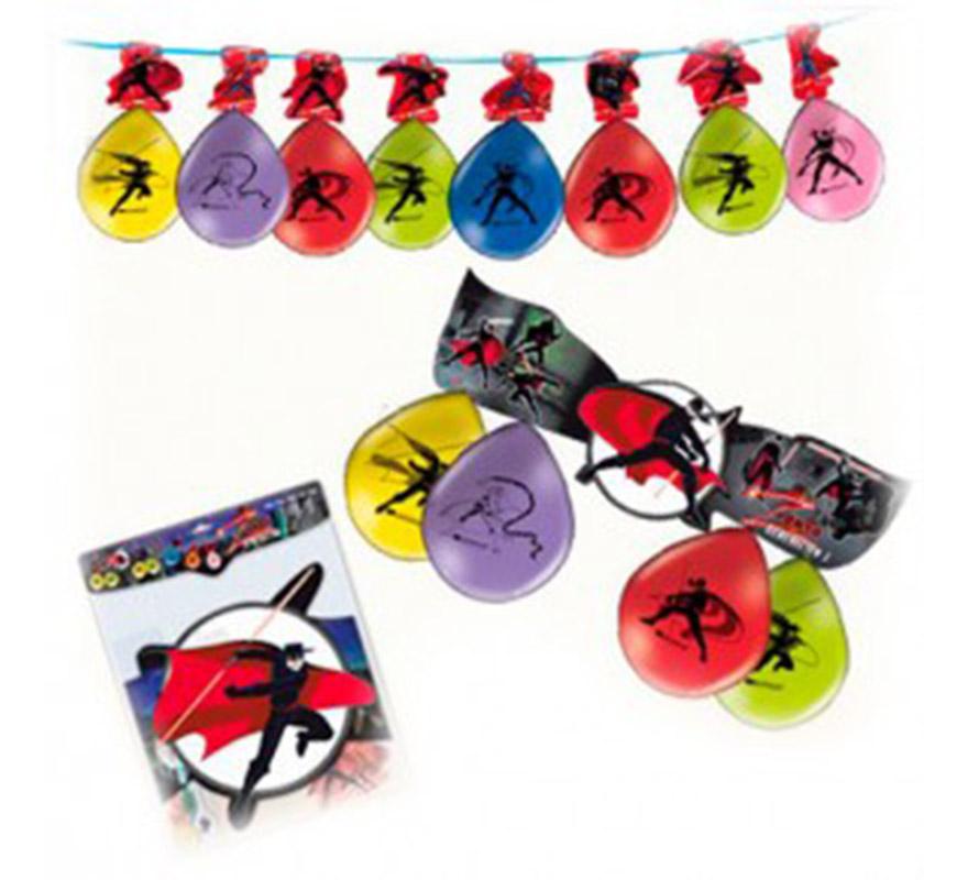 Kit del Zorro con guirnalda y globos.