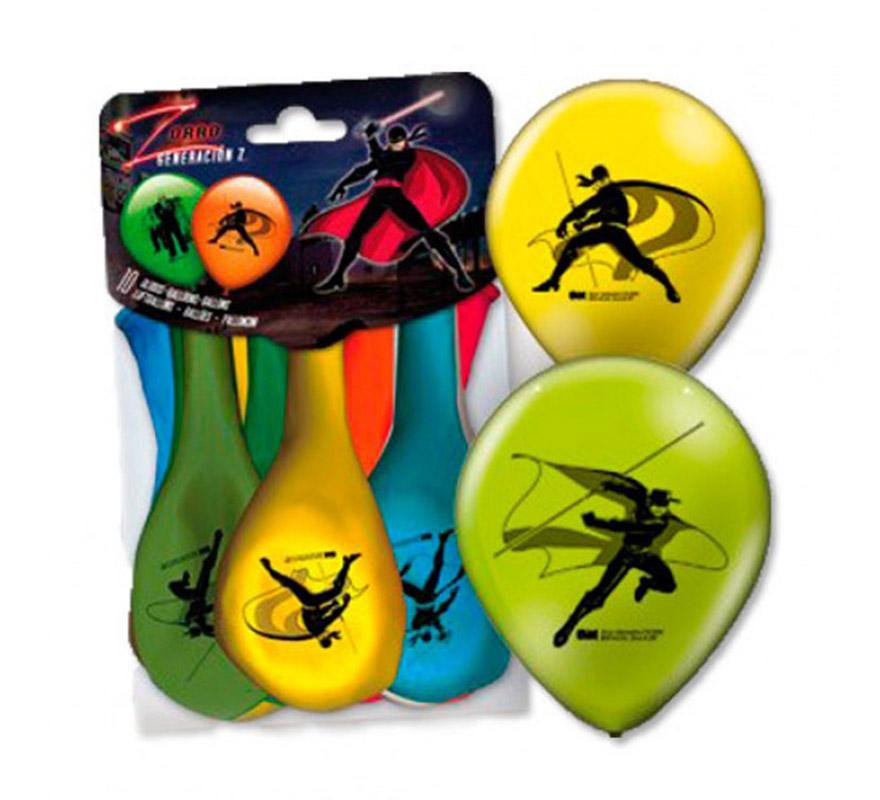 Bolsa de 10 globos del Zorro de colores.