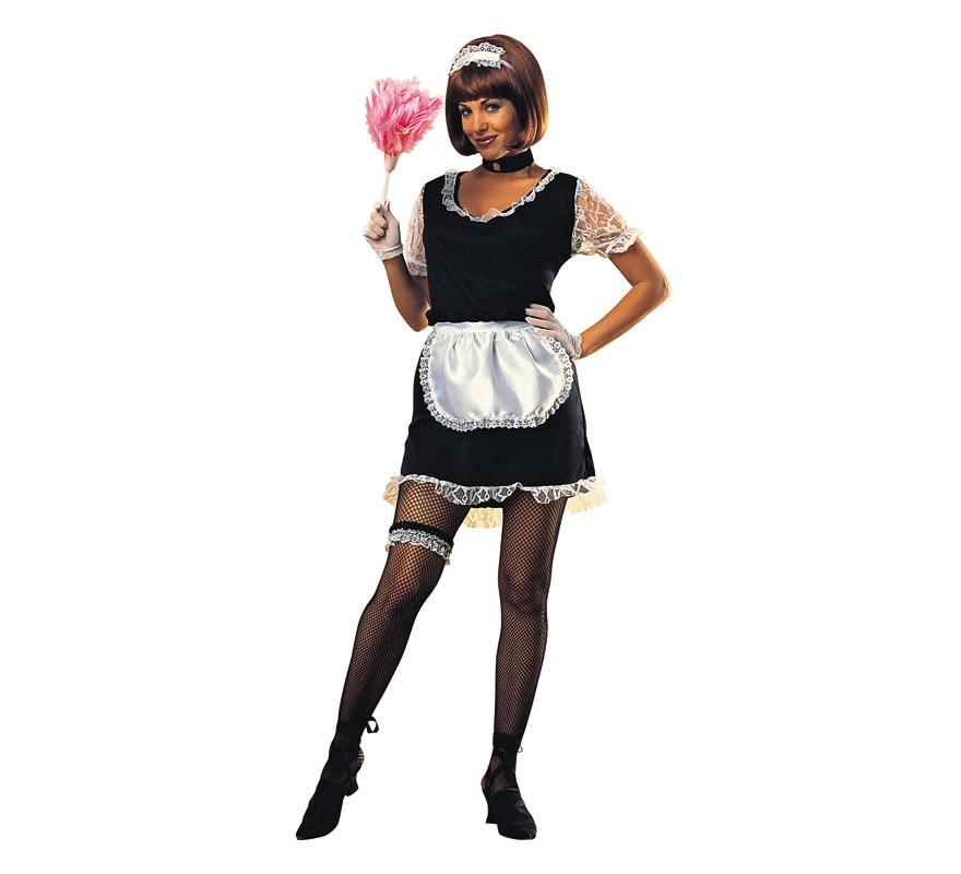 Disfraz barato de Criada sexy para mujer. Talla standar. Incluye vestido, delantal, guantes, liguero y gargantilla.