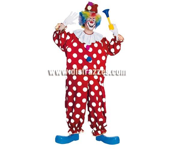 Disfraz de Payaso rojo lunares blancos para hombre. Talla standar. Incluye mono completo con cuello. Accesorios o complementos como peluca, guantes, bocina y zapatones NO incluidos, podrás verlos en la sección de Complementos.