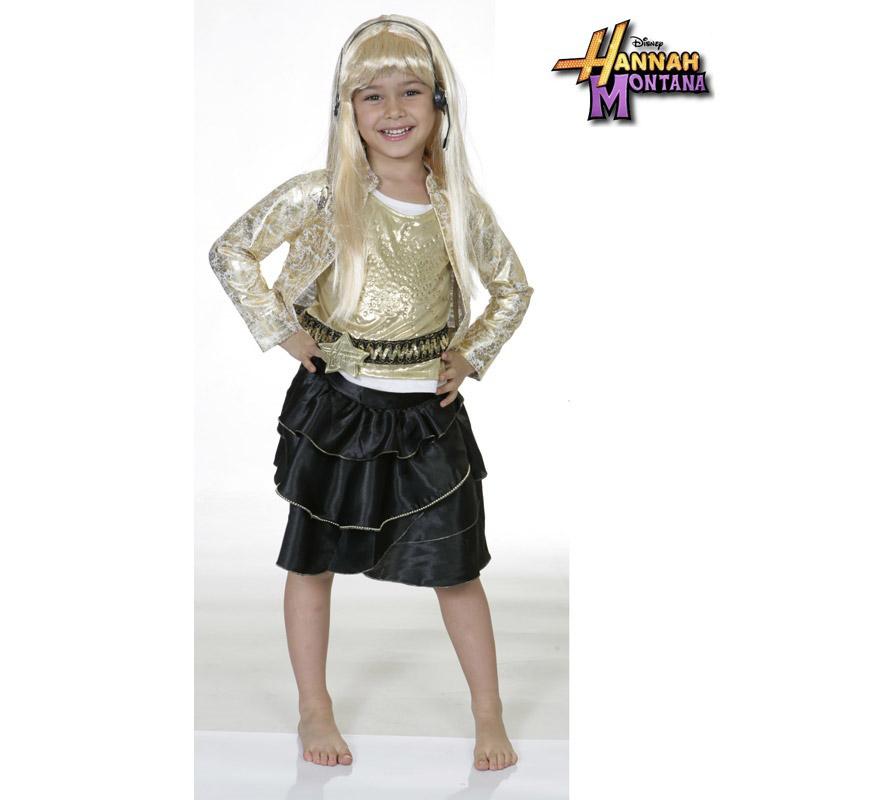 Disfraz de Hannah Montana talla de 3 a 5 años. Incluye falda, chaqueta, camisa, peluca y auriculares con micrófono. Disfraz con licencia Disney ideal para pedir a los Reyes o Papa Noel, también para regalar en cualquier fecha del año.