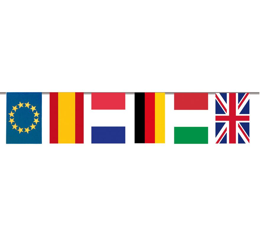 Bandera de plástico Internacional 20x30 cm. Bolsa de 50 metros. Ideal para decorar todo tipo de Fiestas.